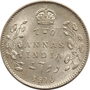 India 1910 Silver Two Annas - Nice Condition With Luster