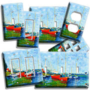 Claude Monet Red Boats Lake Painting Light Switch Outlet Wall Plates Room Decor