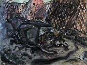 Original Painting Arthur Robins Nyc East Village New York Art 1980and039s Wrecked Car