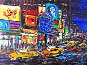 Original Arthur Robins Oil Times Square Nyc Cityscape Taxi Cars Street See Video
