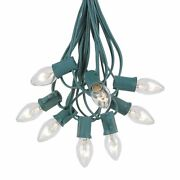 100 Foot C7 Christmas Light Set, Hanging Patio String Lights, Green Wire
