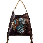 Raviani Western Hand Painted Indian Chief Brown Leather Handbag W/fringes