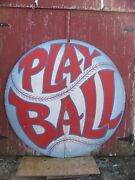 Vintage Painted Wooden Baseball Sign Play Ball Shipping Available