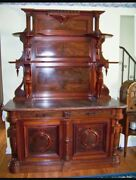 Signed Walnut Marble Top Sideboard By Thomas Brooks Brooklyn New York