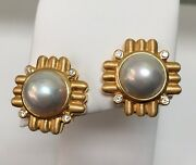 18k Yellow Gold Mabe Pearl And 8 Diamond .16ct. Gh/si Earrings