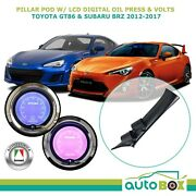 Pillar Pod W/ Lcd Digital Oil Press And Volts Gauge Suits Gt86 And Brz 2012-current