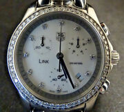 Tag Heuer Link Stainless Steel Diamond Dial And Bezel Chrono Watch 32mm Case