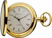 Pocket Watch Gold Plated Half Hunter With Date Mechanical Movement Chain