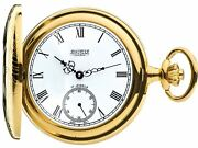 Gold Plated Pocket Watch Ornate Half Hunter With 17 Jewel Movement Gift Box
