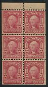 1908 Us Stamp 319fq 2c Mint Never Hinged Vf Booklet Pane Of 6 Type Ii