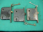 Lot Of 3 Antique Door Locks With Keys 5 1/4 To The Front