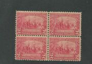 1907 Us Stamps 329 Mint Never Hinged F/vf Block Of 4 Jamestown Exposition Issue