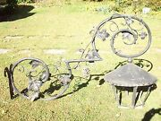 Antique Very Large Outdoor Cast Iron And Steel Light Grape Vines Trade Sign