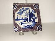 Lc2 18th Century Dutch Delft Maganese Tile With House Ocean Scene A