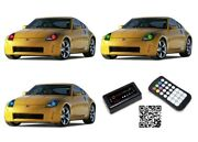 Led Headlight Halo Ring Bluetooth Multi-color Rgb Kit For Nissan 350z 03-05