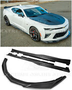 For 16-up Camaro Ss | Zl1 Style Carbon Fiber Front Lip Splitter And Side Skirts