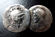 Antique Victorian George W Shiebler Sterling Silver Roman Medallion Brooch Pin