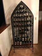 Wrought Iron Wine Decorative Rack In Black Finish Home Décor With Locking Door