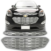 Chrome Grille Overlay Trim 2 Pieces Kit For 2016 2017 Chevrolet Equinox L / Ls