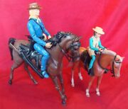 Set Of 2 Vintage Toys Cowboys Action Figure Louis Marx With Horses Made In Usa