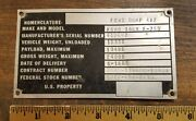 1963 Ford Dump 4 X 2 Metal Serial Number Plate F-750