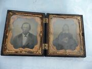 Daguerreotype Photo Of A Man And Woman In A Detailed Gutta Percha Case