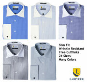 Menand039s Dress Shirt Slim Fit Long Sleeve Spread Collar French Cuffs From Labiyeur