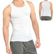3-6 Packs Mens 100 Cotton Tank Top A-shirt Wife Beater Undershirt Ribbed Muscle