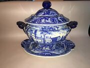 Lb4 Historical Staffordshire Blue Soup Tureen Oxford College Series Ca. 1825