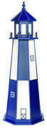 Amish Wood Garden Lighthouse - Cape Henry Patriot Blue And White - Lighting Option