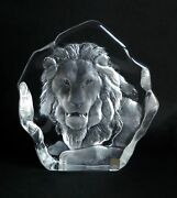 Lion Head Design Glass Crystal By Mats Jonasson Signed