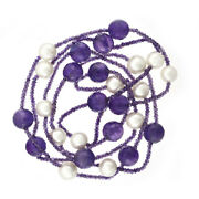 10mm Pearl And 12mm Natural Briolette Shape Amethyst Bead Necklace