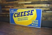 Huge Early Wisconsin Cheese 1950's Advertising Tin Sign Dairy General Store Wow