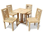 Windsor's Genuine Grade A Teak 31 Dropleaf Table W4 Chippendale Stacking Chairs