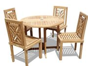 Windsorand039s Genuine Grade A Teak 39 Dropleaf Table W4 Chippendale Stacking Chairs