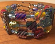 Chevron Glass Bead Bracelet 3 Strand .925 S/s Rare Limited Collectible New
