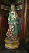 Antique Religious Wooden Santos/statue In Poly Chrome W/glass Eyes 19 H 5 Lbs