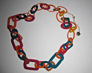 Betsey Johnson Rare 60and039s Style Multi Colored Plastic Long Necklace