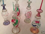 Lot Of 15 Mouth Blown Egyptian Perfume Bottles Pyrex Gold Painted Glass 7