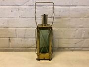 Vintage Brass And Glass Bottle Decanter Wind Up Music Box Lantern