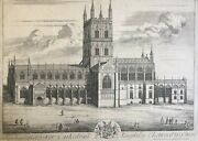 1712 Antique Print Rare View Gloucester Cathedral After Johannes Kip