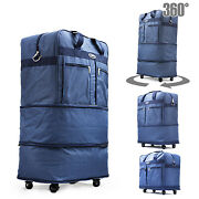 30 Blu Rolling Wheeled Duffle Duffel Bag Spinner Suitcase Luggage Expandable