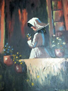Calif Artist Carole Olin Handsigned High Textured Oil Paintinggirl With Flowers