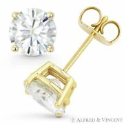 Round Cut Forever One Def Moissanite 14k Yellow Gold 4-pr Pushback Stud Earrings