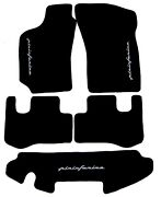 Black Velours Floormats For Fiat Coupe 1994-2000 With Grey Pininfarina