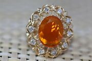 3.50 Tcw Natural Mexican Fire Opal And Diamonds In 14k Solid Yellow Gold Ring