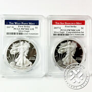 2017 S And W 1 1oz Proof Silver Eagle Pcgs Pr70 Dcam First Strike 2 Coins Lot