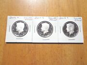 2016 S 2017 S 2018 S Silver Proof Kennedy Half Dollar 3 Coin Lot Set