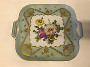Vintage Limoges France Large Porcelain Tray W/ Painted Flowers And Gold Decoration