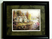 Country Cottage House Picture Sailboats Peros Cove Double Matted Framed 11x14